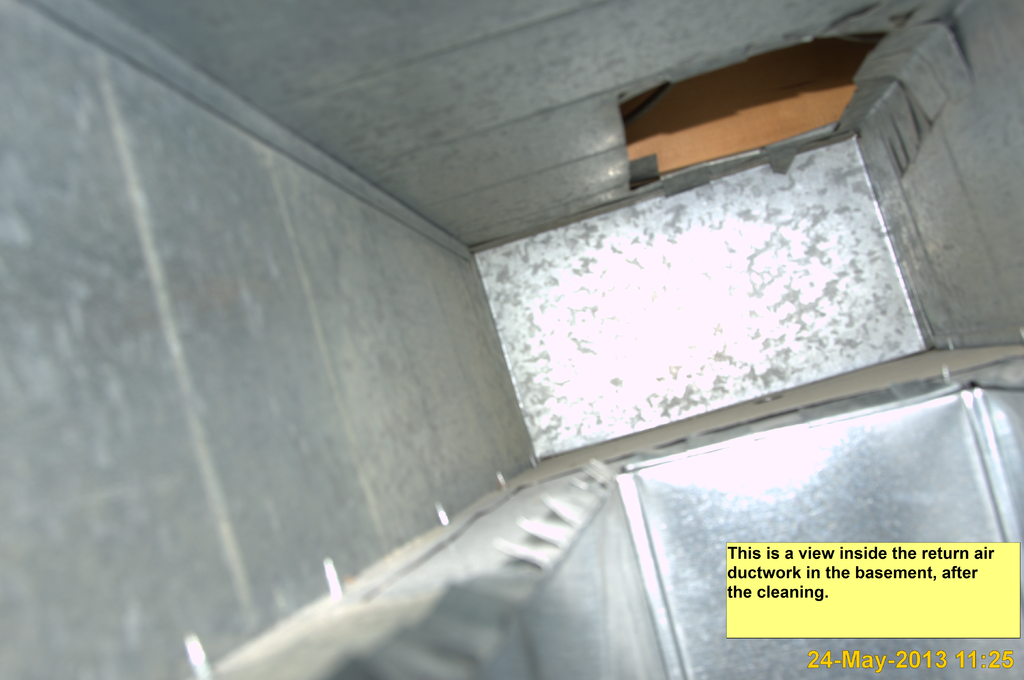 Image of inside of ductwork after a cleaning.